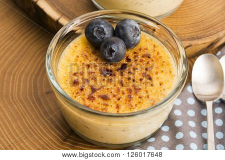 Creme Brulee.french Vanilla Cream Dessert With Caramelised Sugar