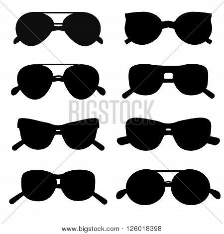 Sunglasses silhouette accessory collection style eye frame vector. Silhouette sunglasses accessory and silhouette sunglasses style eye frame. Silhouette sunglasses protection lens.