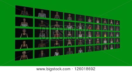 Video Wall of People on Screens in 3d Illustration Render