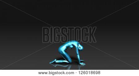 Yoga Class, the Downward Facing Frog Basic Pose Stance 3d Illustration Render