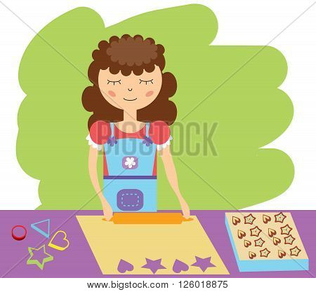 Woman rolls the dough to bake biscuits