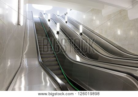 MOSCOW - MARCH 3: Escalator at the Botanichesky Sad metro station on March 3, 2016 in Moscow. Southern ground-based lobby of Botanichesky Sad metro station was completely reconstructed in 2015.