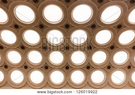 MOSCOW - MARCH 3: Closeup of the ceiling lighting caissons of the Elektrozavodskaya metro station on March 3, 2016 in Moscow. It is one of the most spectacular stations of the Moscow subway.
