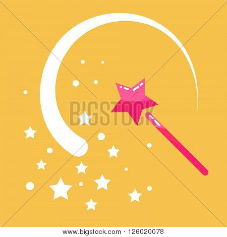 Magic wand stars flat icon cartoon illustration. Princess pink  magic stick with sway wave track. Fairy props object.