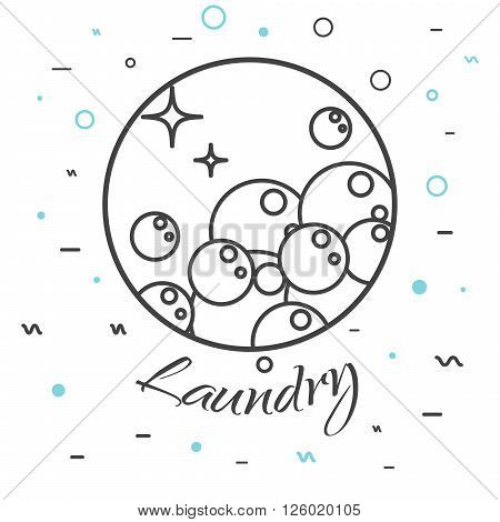 Laundry service company logo badge. Wash business label for logotype template. Soap bubbles in round line icon with signs on background.