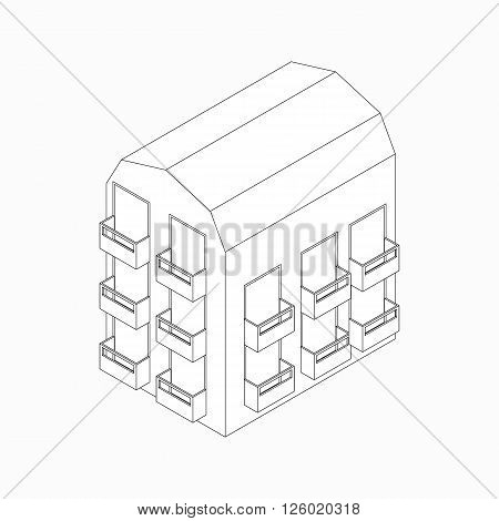 Low-rise building with balconies icon in isometric 3d style isolated on white background