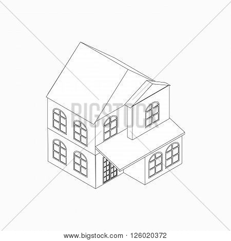 Two-storied detached house icon in isometric 3d style isolated on white background