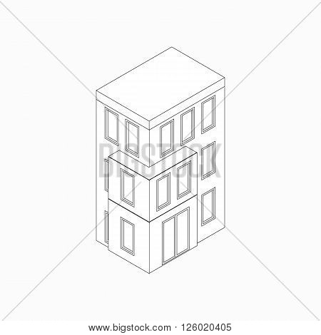 Low-rise building icon in isometric 3d style isolated on white background. Three-storied house
