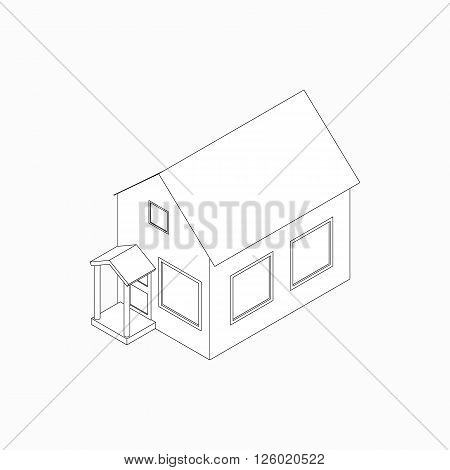 Bungalow with porch icon in isometric 3d style isolated on white background