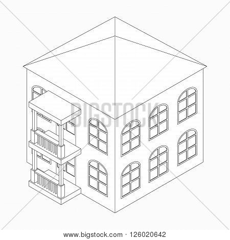 Low-rise building with porch icon in isometric 3d style isolated on white background