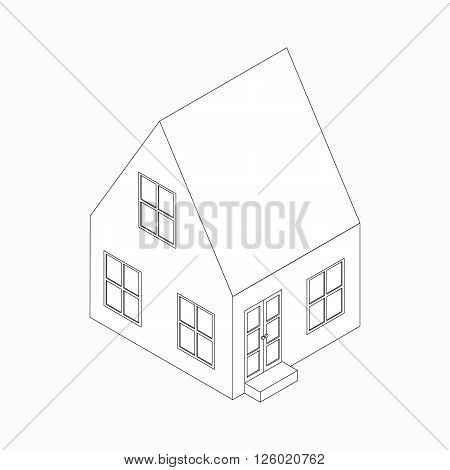 Two-storied cottage with a sloping roof icon in isometric 3d style isolated on white background