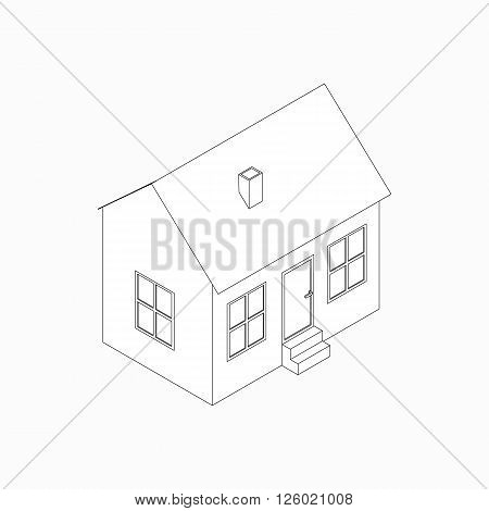 Bungalow with pipe icon in isometric 3d style isolated on white background