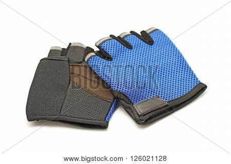 the cycling gloves isolated on white background