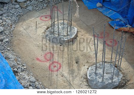 JOHOR, MALAYSIA -JUNE 16, 2015: Excavated bore pile and ready to cut to designated level at the construction site. The bore pile must cut before can fabricate the pile cap.