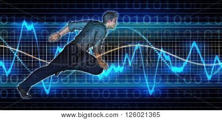 Successful Business with Nordic Man and Graph Background 3d Illustration Render