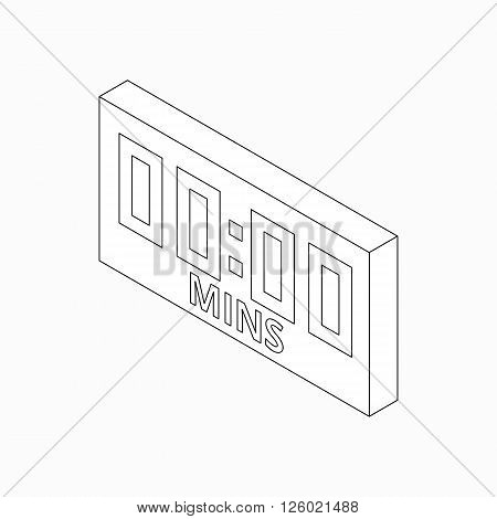 Electronic soccer scoreboard icon in isometric 3d style on a white background