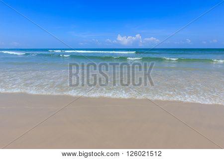 Blue sea and blue sky at hua hin beach thailand