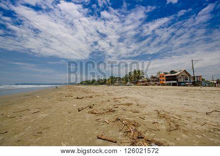 Muisne, Ecuador - March 16, 2016: A coastal town in the southwest of the province of Esmeraldas in northwestern Ecuador. Beach front