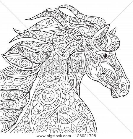 Zentangle stylized cartoon horse (mustang) isolated on white background. Hand drawn sketch for adult antistress coloring page T-shirt emblem logo or tattoo with doodle zentangle design elements.