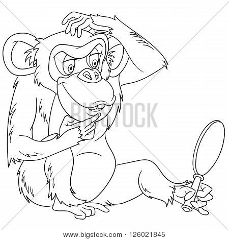 cute and funny cartoon monkey (macaque ape primate chimp chimpanzee) is thinking while looking at his reflection in the mirror isolated on a white background