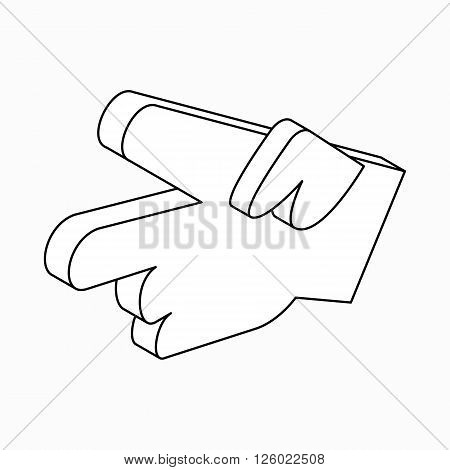 Hand with two fingers icon in isometric 3d style on a white background