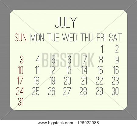 July 2016 Monthly Calendar