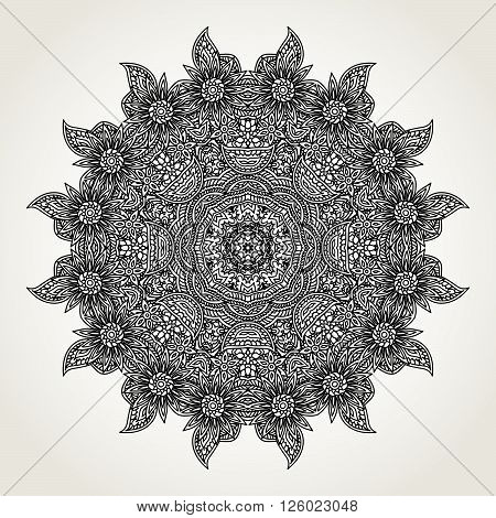 Ornate lacy doodle floral round rosette in black over white backgrounds. Hand drawn mandala. Coloring pages for adults.
