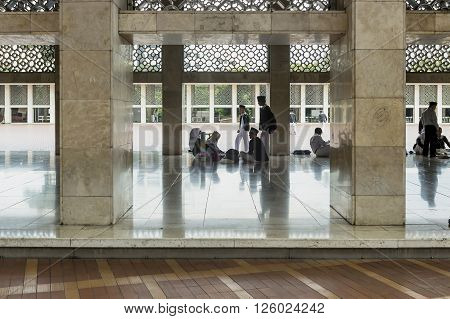 Jakarta Indonesia - March 17 2016: Interior Istiqlal Mosque in Jakarta Indonesia is the largest mosque in Southeast Asia.