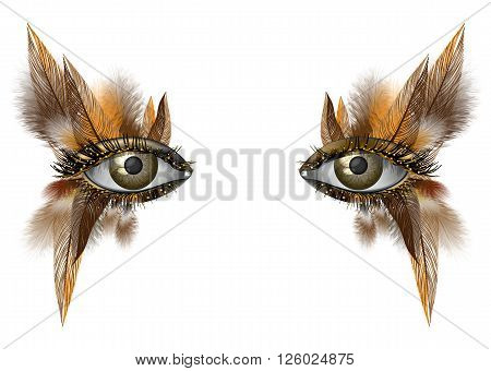Realistic female eye close up artistic makeup wild bird feather