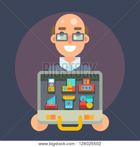 Experienced Professional Seller Case Goods Offer Sale Isolated Icon Flat Character Vector Illustration