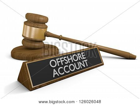 Court law dealing with offshore money accounts that avoid taxes, 3D rendering