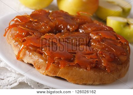 Tarte Tatin With Apples And Caramel Close Up. Horizontal