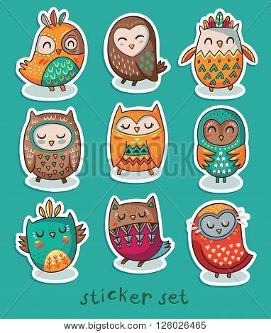 Collection of stickers with owls in cartoon style. Funny owls set sticker. Vector illustration