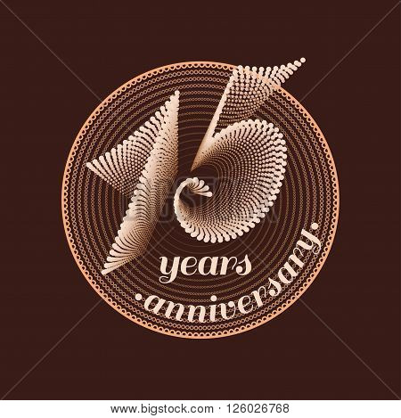 15 years anniversary vector icon. 15th celebration design. Golden jubilee symbol