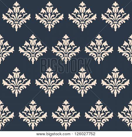 Seamless Renaissance wallpaper  on a gray background. Vector pattern.