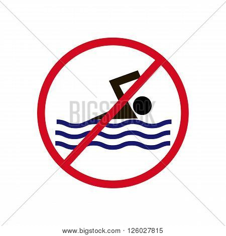 No Swimming Sign on a white background. Vector illustration