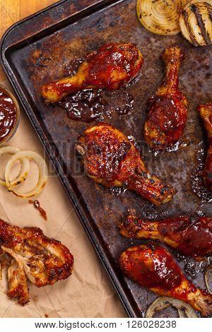Homemade Oven BBQ Chicken Drumsticks. Selective focus.