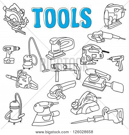 Working construction tools black sketch doodles collection