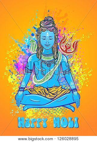 Holi a spring festival, of colour or sharing love Ornament beautiful card with God Shiva. Illustration of Happy Maha Shivaratri Mahashivaratri festival Hinduism in India Shiva the cosmic consciousness