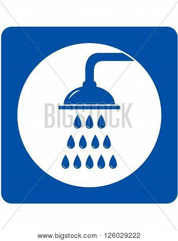 blue icon with shower head and water drops
