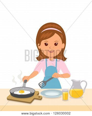 Cute girl in an apron prepares an omelet. Mom to cook breakfast. Concept design of motherhood and household chores.