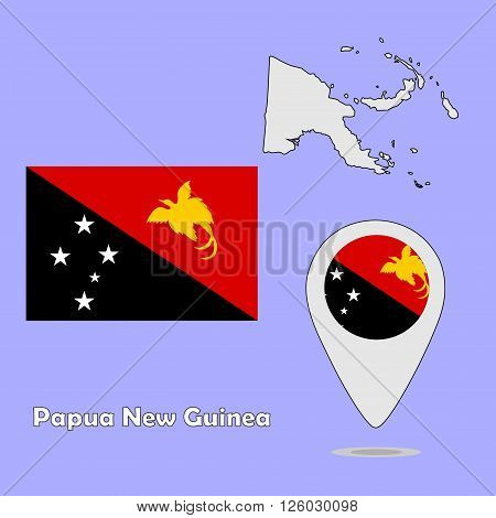 A pointer map and flag of Papua New Guinea