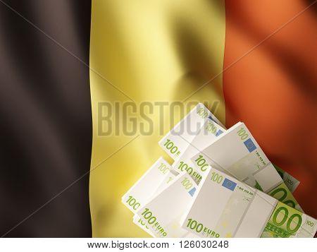 Euro banknote bundles on textile textured Belgium flag. 3d rendering.