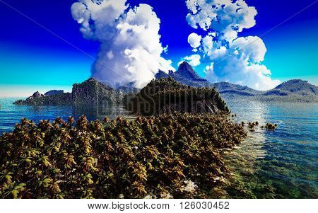 volcanic eruption on tropical island, 3d illustration