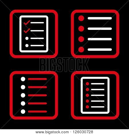 List Items vector bicolor icon. Image style is a flat icon symbol inside a square rounded frame, red and white colors, black background.