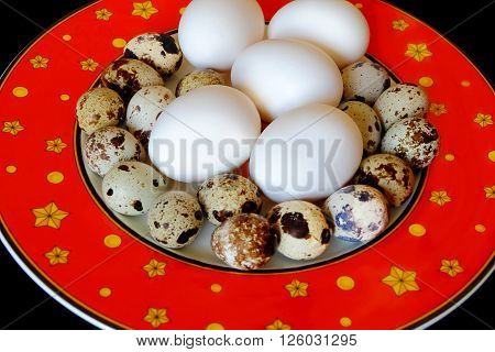 Photo of red dish with hen and quail eggs