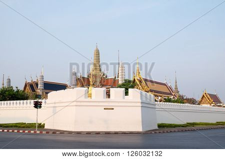 Temple of the Emerald Buddha or Wat phra keaw is the tourist destination in Bangkok Thailand.