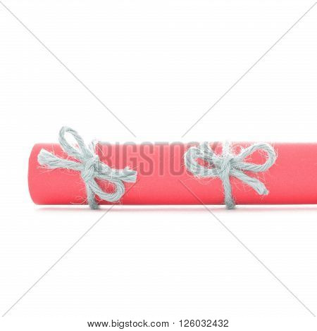 Natural handmade cord bows tied on red paper scroll isolated