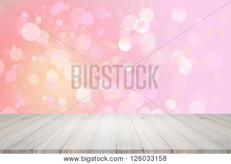 Empty top view of wooden table or counter (shelf) on colorful bokeh background.For display of your products.