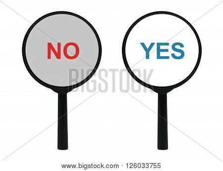 Words Yes and No under a magnifier isolated on white background